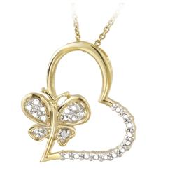 DB Designs 18k Gold over Silver Diamond Accent Butterfly Heart Necklace