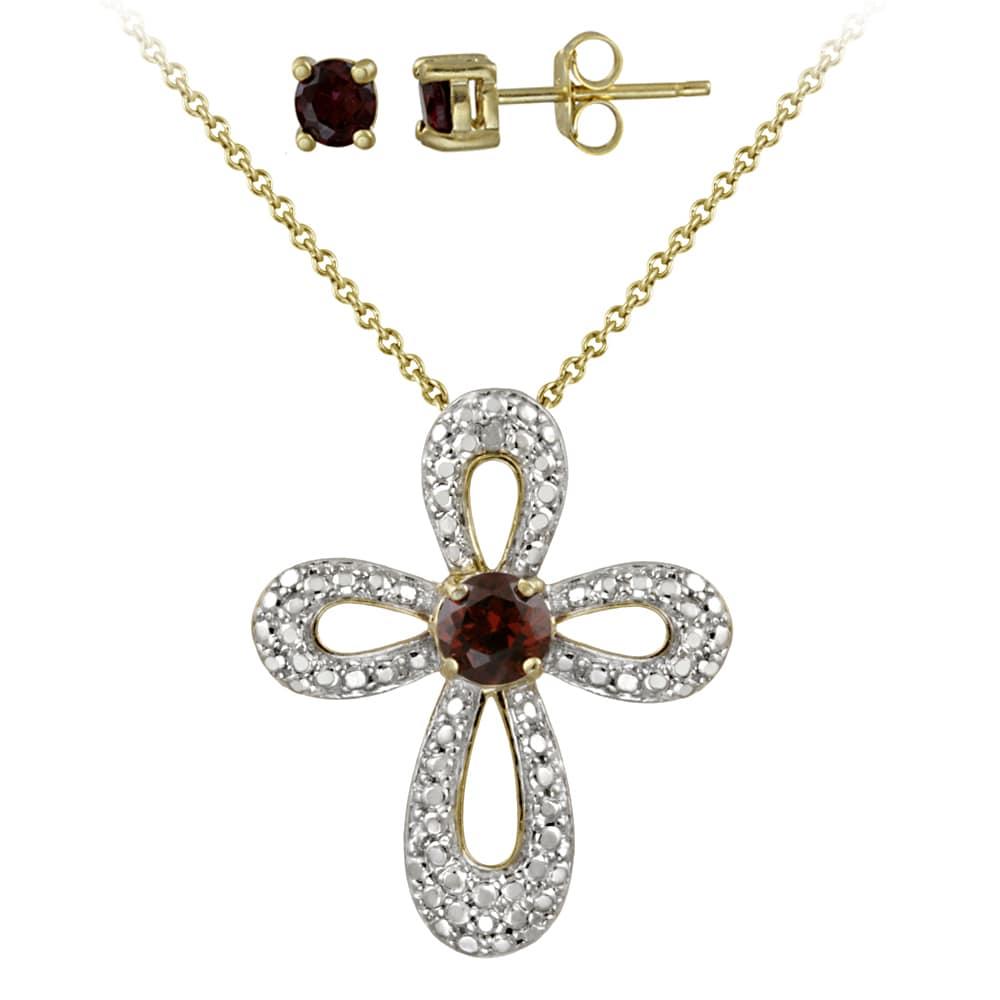 Glitzy Rocks Two-tone Garnet and Diamond Accent Cross Jewelry Set