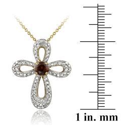 Glitzy Rocks Two-tone Garnet and Diamond Accent Cross Jewelry Set - Thumbnail 1