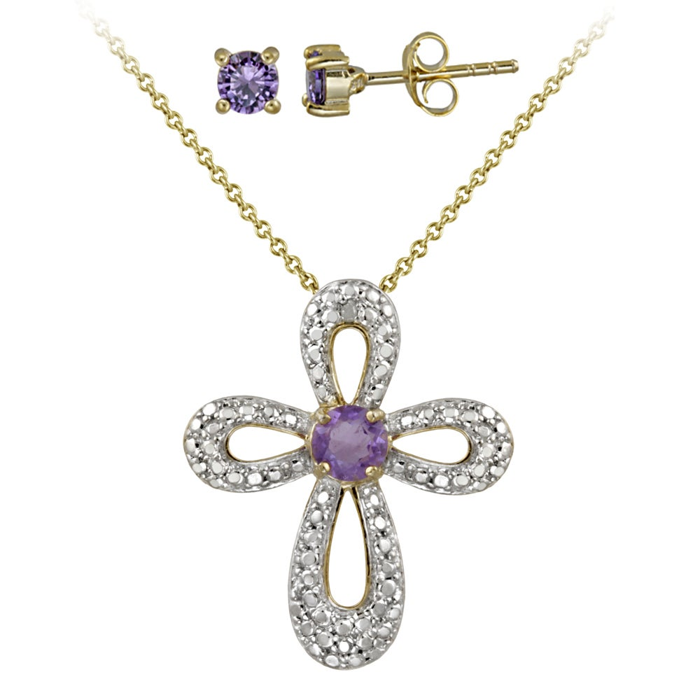 Glitzy Rocks Two-tone Amethyst and Diamond Accent Cross Jewelry Set - Thumbnail 0