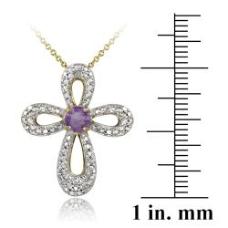 Glitzy Rocks Two-tone Amethyst and Diamond Accent Cross Jewelry Set - Thumbnail 1
