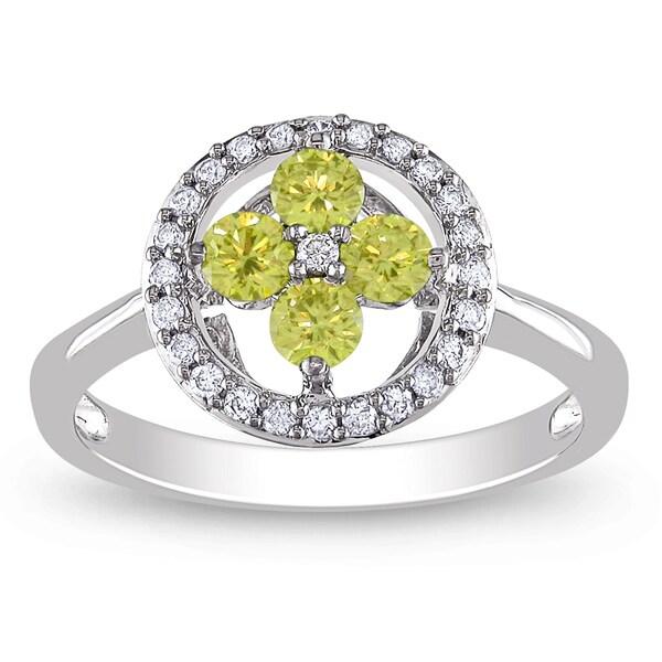 Miadora 14k White Gold 1/2ct TDW Yellow and White Diamond Ring (G-H, I1-I2)