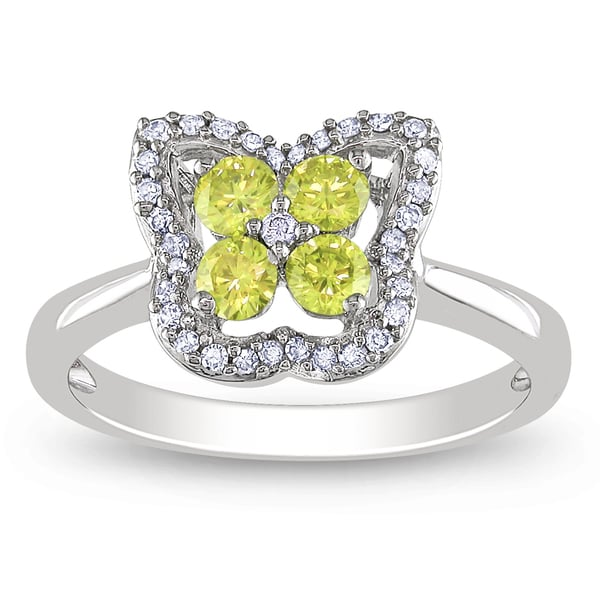 Miadora Highly Polished 14k White Gold 1/2ct TDW Yellow and White Diamond Ring
