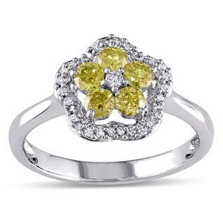 Miadora 14k White Gold 1/2ct TDW Round-cut Yellow and White Diamond Ring