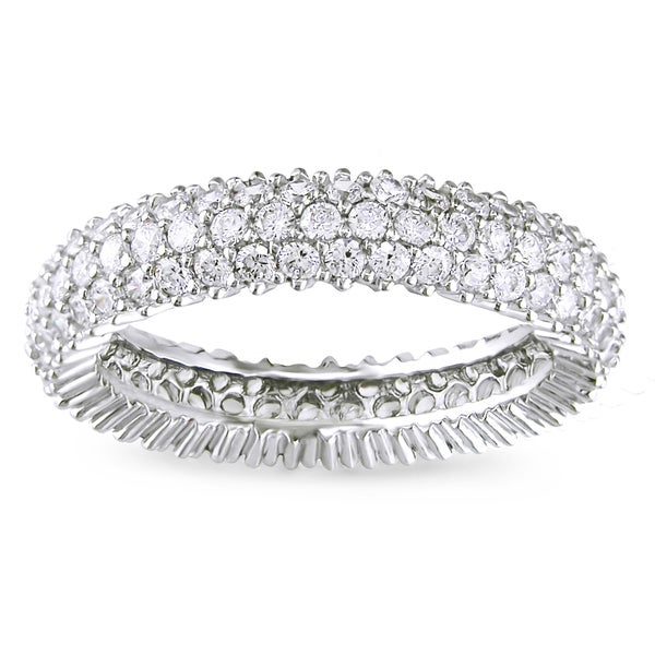 Miadora Sterling Silver 1 7/8ct TGW White Cubic Zirconia Eternity Ring