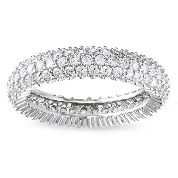 Miadora Sterling Silver 1 7/8ct TGW White Cubic Zirconia Eternity Ring