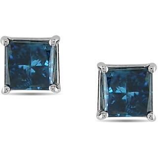 Miadora 14k White Gold Princess Blue Diamond Stud Earrings (3 options available)