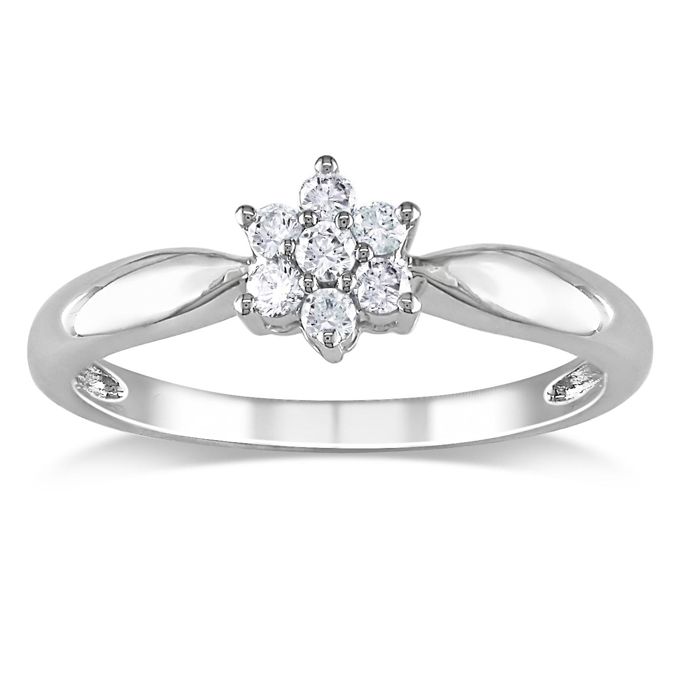 Miadora 10k White Gold 1/6ct TDW Diamond Flower Ring (H-I, I2-I3)