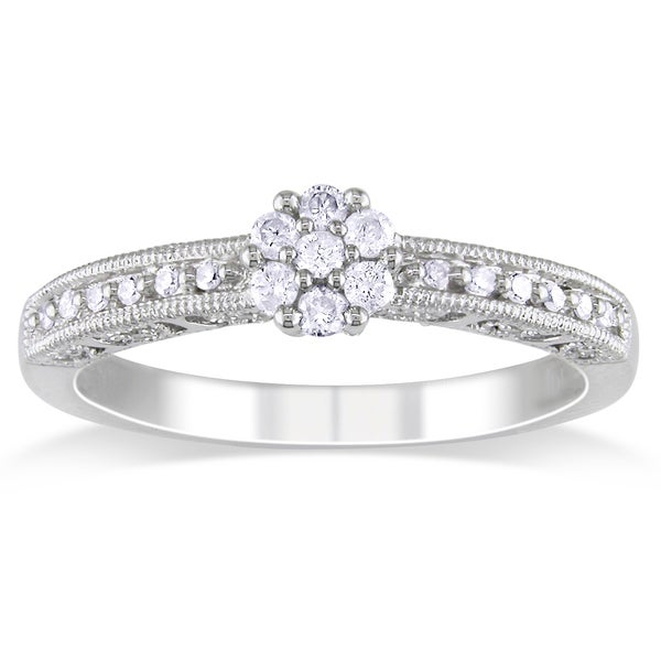Miadora 10k White Gold 1/5ct TDW Diamond Promise Ring