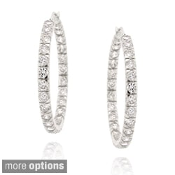 Icz Stonez Gold over Silver 9 1/3ct TGW Cubic Zirconia Hoop Earrings