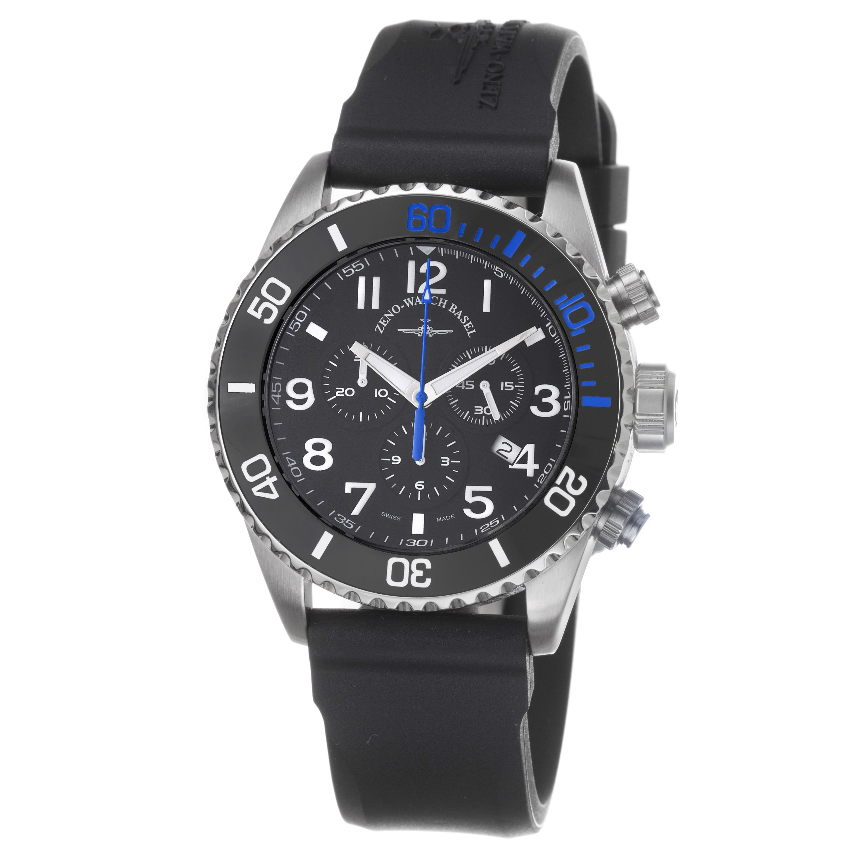 Zeno Men's 6492-5030Q-A1-4 'Divers' Black Dial Black Rubber Strap Chronograph Watch