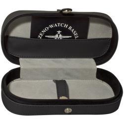Zeno Men's 10557-A1-DECK 'Giant' Black Dial Brown Leather Strap Chronograph Watch