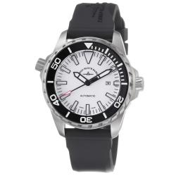 Zeno Men's 'Divers' White Dial Black Rubber Strap Automatic Watch