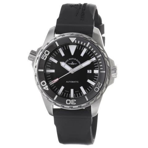 Zeno Men's 'Divers' Black Dial Black Rubber Strap Automatic Watch