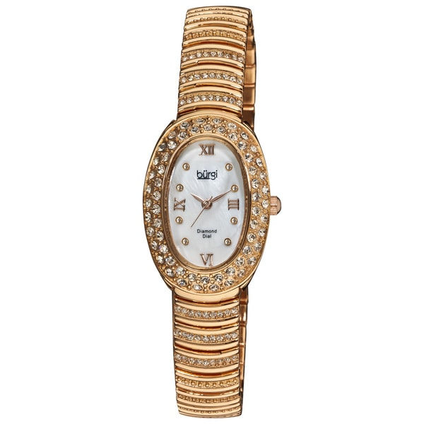 Burgi Women's Diamond Accent Oval Quartz Rose-Tone Bracelet Watch with FREE Bangle