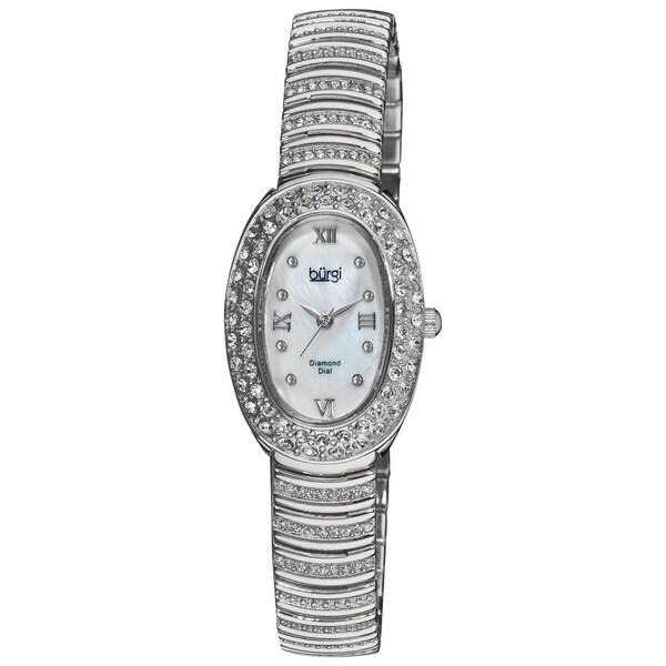 Burgi Women's Diamond Oval Quartz Silver-Tone Bracelet Watch