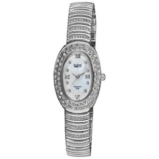 Burgi Women's Diamond Oval Quartz Silver-Tone Bracelet Watch with FREE GIFT