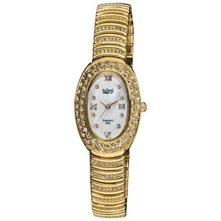 Burgi Women's Diamond Oval Quartz Gold-Tone Bracelet Watch with FREE GIFT