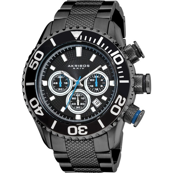 Akribos XXIV Men's AKR512BK Large Stainless Steel Diver's Chronograph Black Bracelet Watch