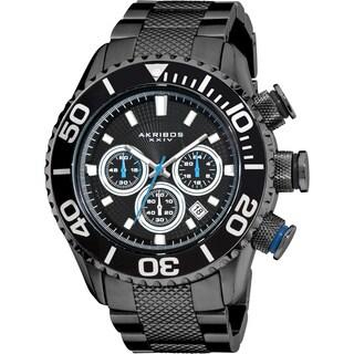 Akribos XXIV Men's AKR512BK Large Stainless Steel Diver's Chronograph Black Bracelet Watch