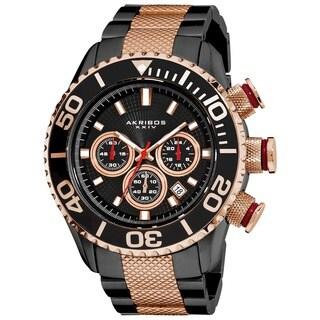 Etched Akribos Men's Large Diver's Chronograph Two-Tone Bracelet Watch