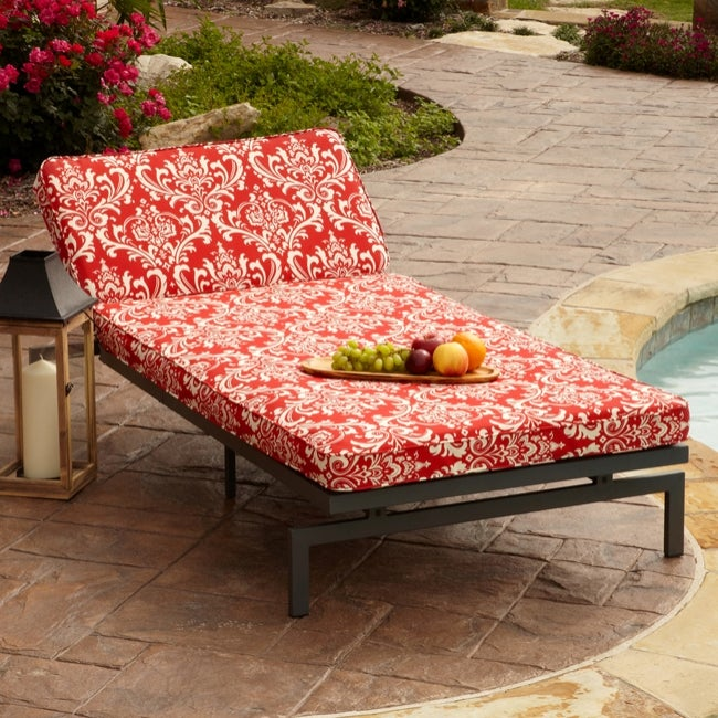 Alyssa damask red adjustable outdoor chaise with corded for Alyssa outdoor chaise
