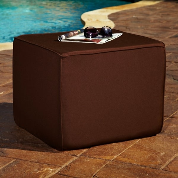 Brooklyn Brown 22-inch Square Indoor/ Outdoor Sunbrella Ottoman