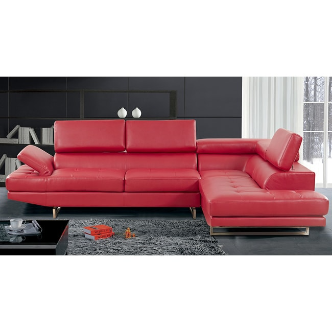 Rivera Red Bonded Leather Two piece Sectional Free