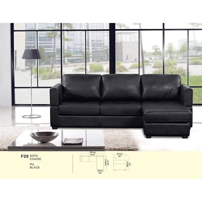 Manhattan 2-piece Modern Bi-cast Black Reversible Sectional Sofa