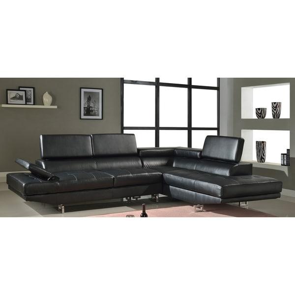 Rivera Modern 2-piece Black Bonded Leather Adjustable Sectional