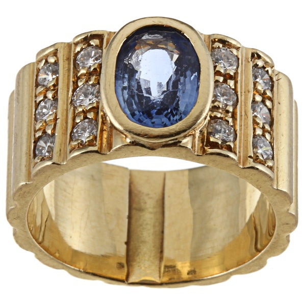 18k Gold Sapphire and 3/5ct TDW Diamond Estate Ring (G-H, SI1-SI2)