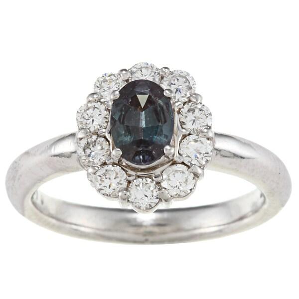 Platinum Alexandrite and 1/2ct TDW Diamond Estate Ring (G-H, VS1-VS2)