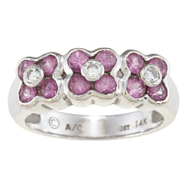 14k Gold Pink Sapphire and 1/10ct TDW Diamond Estate Ring (I-J, SI1-SI2)