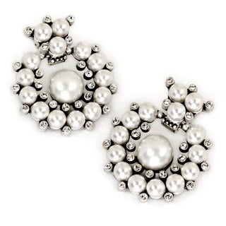 Sweet Romance Silvertone White Glass Pearl Earrings