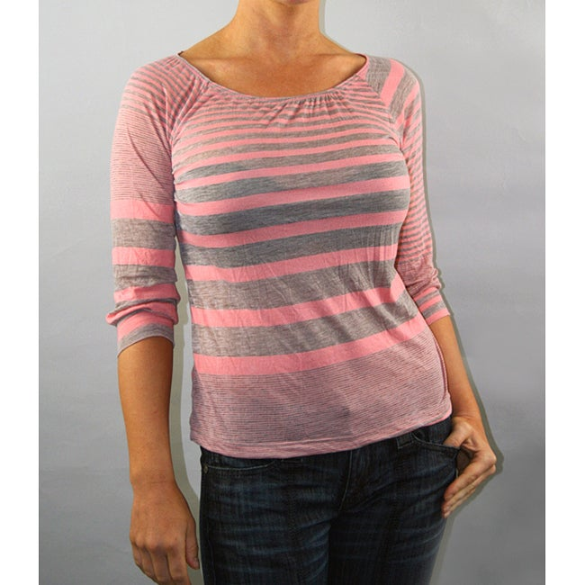 Institute Liberal Women's Coral/ Grey Striped 3/4-Length Top
