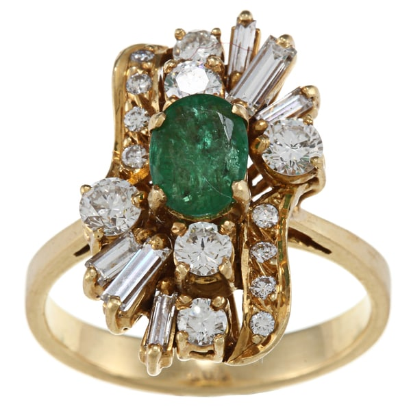18k Gold Emerald and 1ct TDW Diamond Estate Ring (I-J, SI1-SI2)
