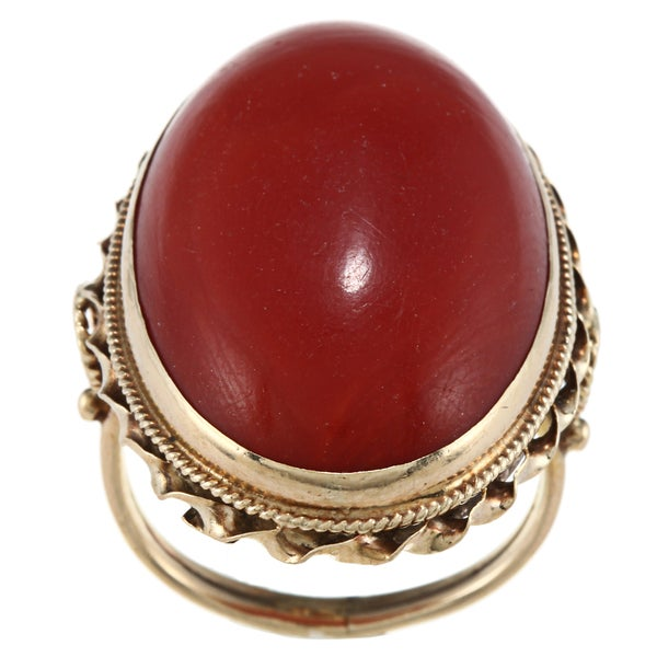 14k Yellow Gold Giant Coral Cabochon Cocktail Estate Ring
