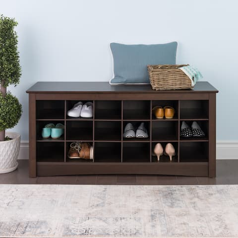 Copper Grove Arrowstone Espresso Shoe Storage Cubbie Bench
