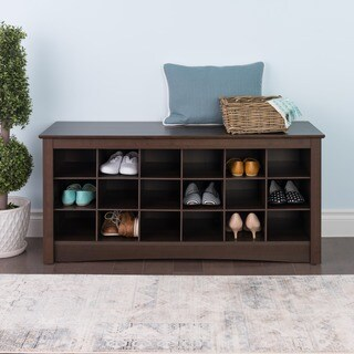 The Gray Barn Waggoner Espresso Shoe Storage Cubby Bench