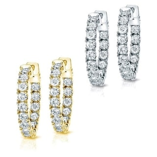 14k Gold 3ct TDW Diamond Hoop Earrings