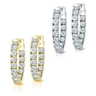14k Gold 3ct TDW Diamond Hoop Earrings