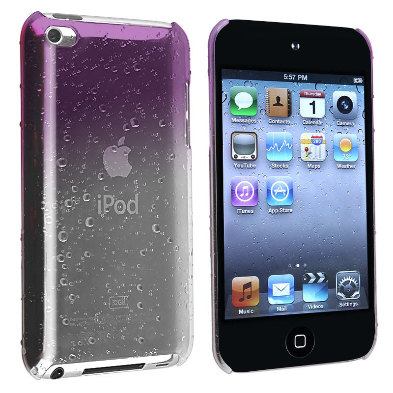 Clear Purple Waterdrop Snap-on Case for Apple iPod Touch Generation 4