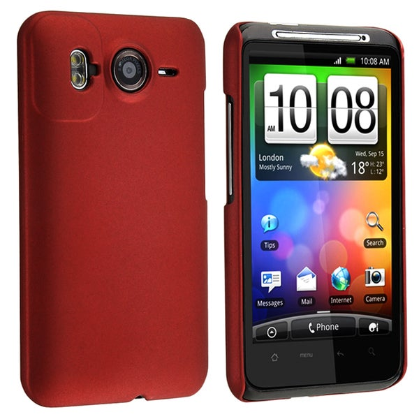 BasAcc Red Rear Rubber Coated Case for HTC Inspire 4G/ Desire HD