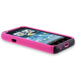 INSTEN Hot Pink TPU/ Black Hard Plastic Hybrid Phone Case Cover for HTC EVO 3D - Thumbnail 2