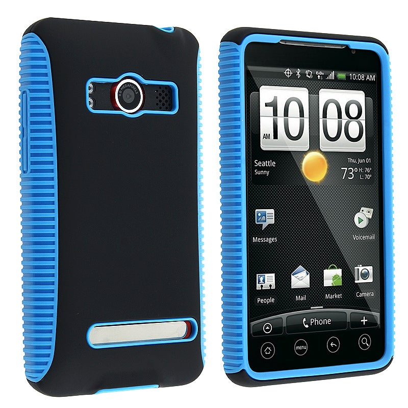 INSTEN Blue TPU/ Black Hard Plastic Hybrid Phone Case Cover for HTC EVO 4G