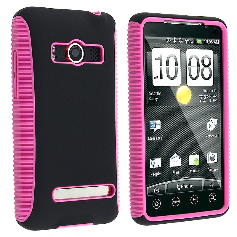 BasAcc Hot Pink TPU/ Black Hard Hybrid Case for HTC EVO 4G