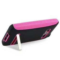 BasAcc Hot Pink TPU/ Black Hard Hybrid Case for HTC EVO 4G - Thumbnail 2
