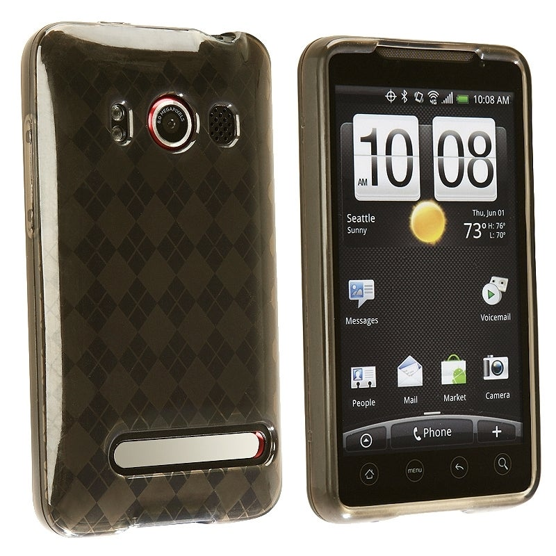 INSTEN Clear Smoke Argyle TPU Rubber Skin Phone Case Cover for HTC EVO 4G