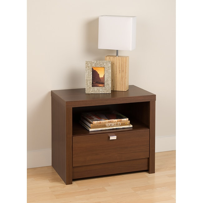 Valhalla Designer Series Medium Brown Walnut 1-Drawer Nightstand