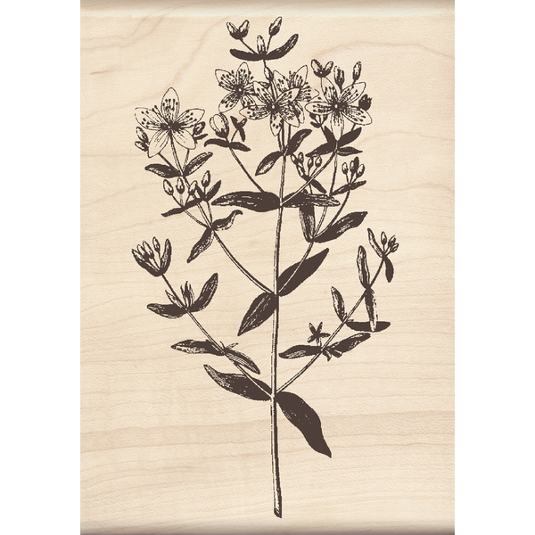 Inkadinakdo 'Large Stemmed Flower' Mounted Rubber Stamp